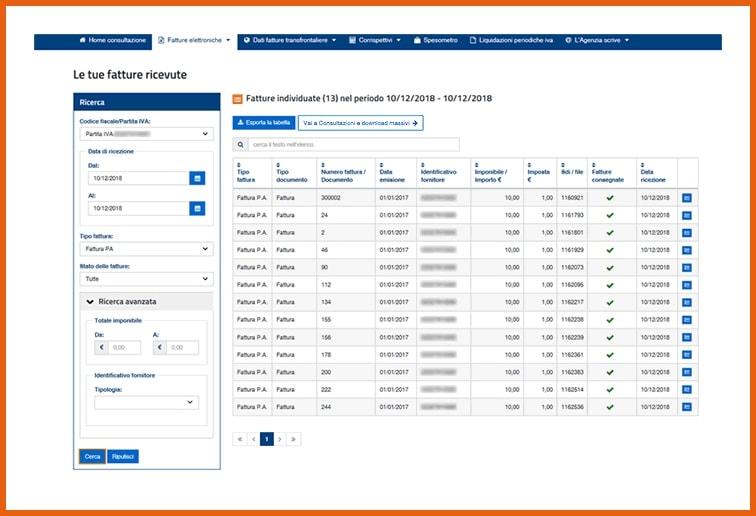 Fattura elettronica consultazione file da Fatture e Corrispettivi