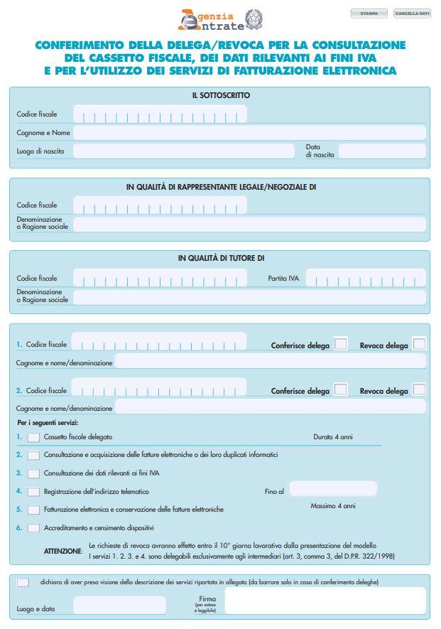 Fattura elettronica delega intermediari: Modello per delega intermediario operazioni fatturazione elettronica