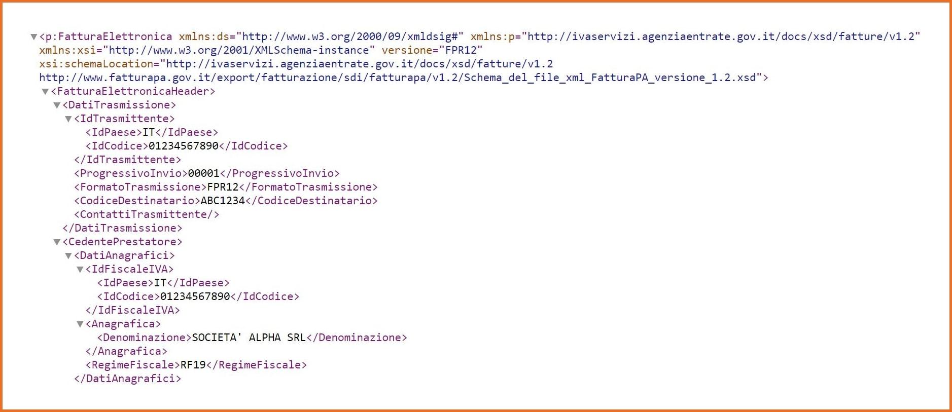 Fattura elettronica esempio file xml
