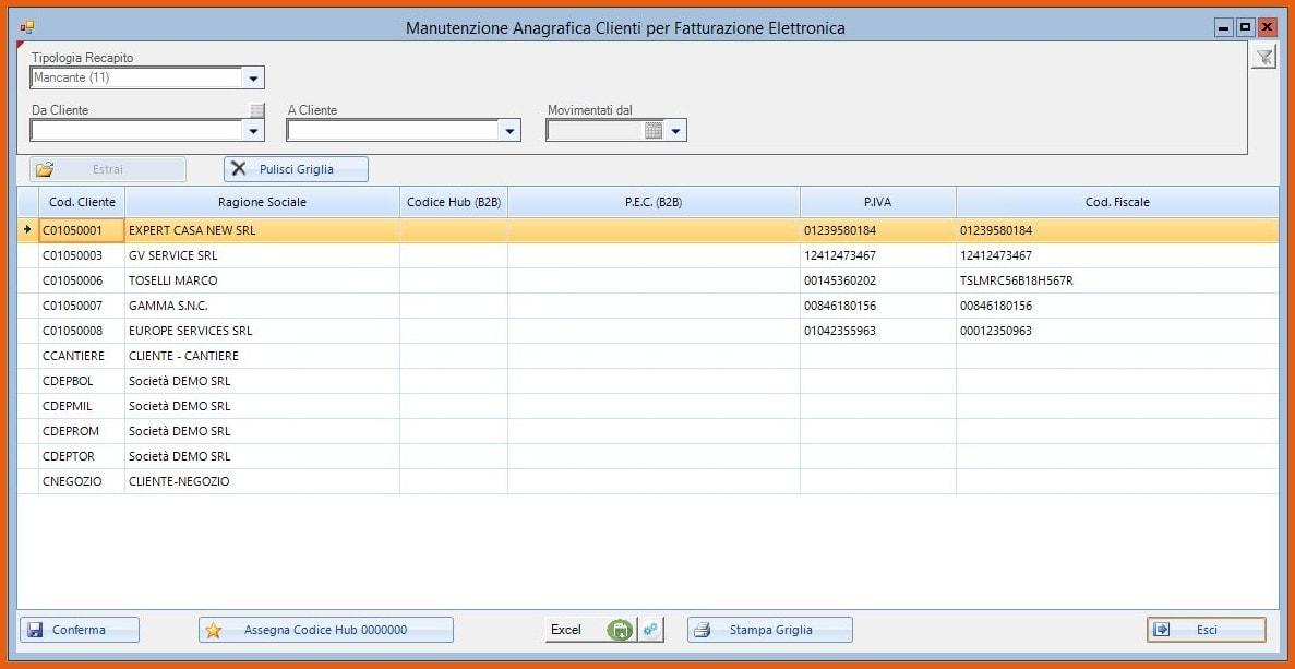 Software KING Fatturazione Elettronica Manutenzione massiva Anagrafica Clienti