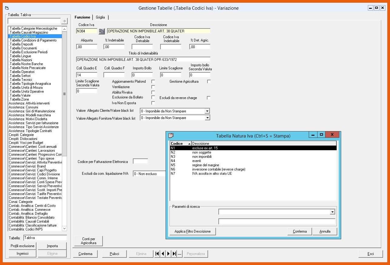 Software KING Fatturazione Elettronica Tabella Codici IVA
