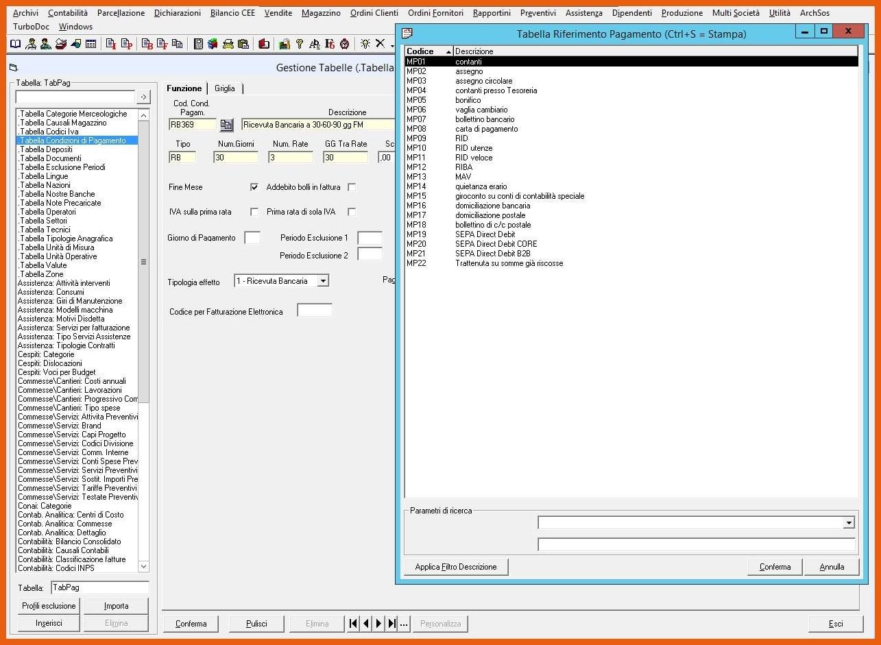 Software KING Fatturazione Elettronica Tabella Condizioni di Pagamento