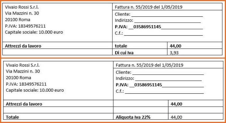 Fattura Semplificata: esempio modalità di indicare l'IVA