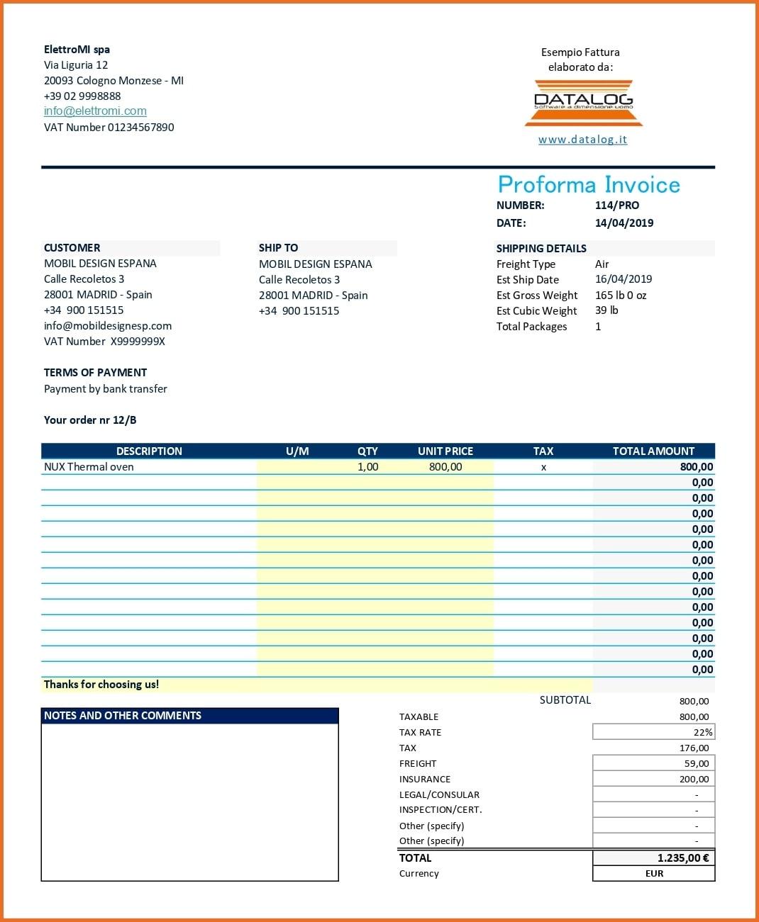 Modello Fattura Excel Proforma estero