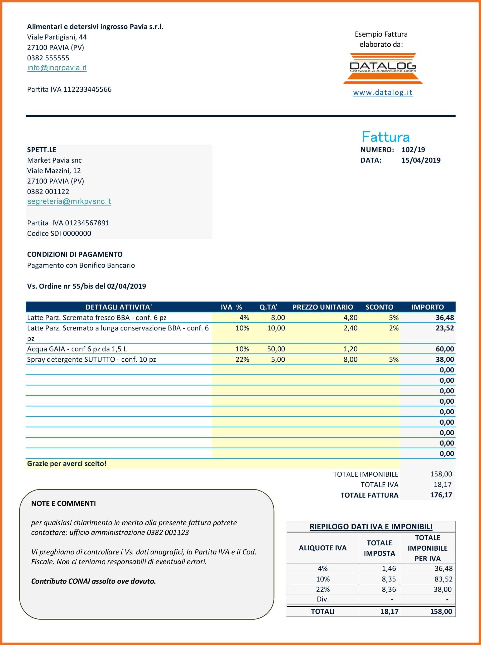 Modello Fattura Excel con più aliquote IVA