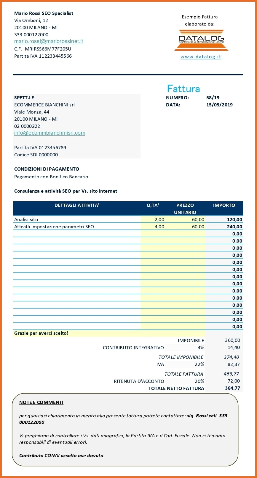 Modello Fattura Excel Ritenuta di acconto e Contributo integrativo