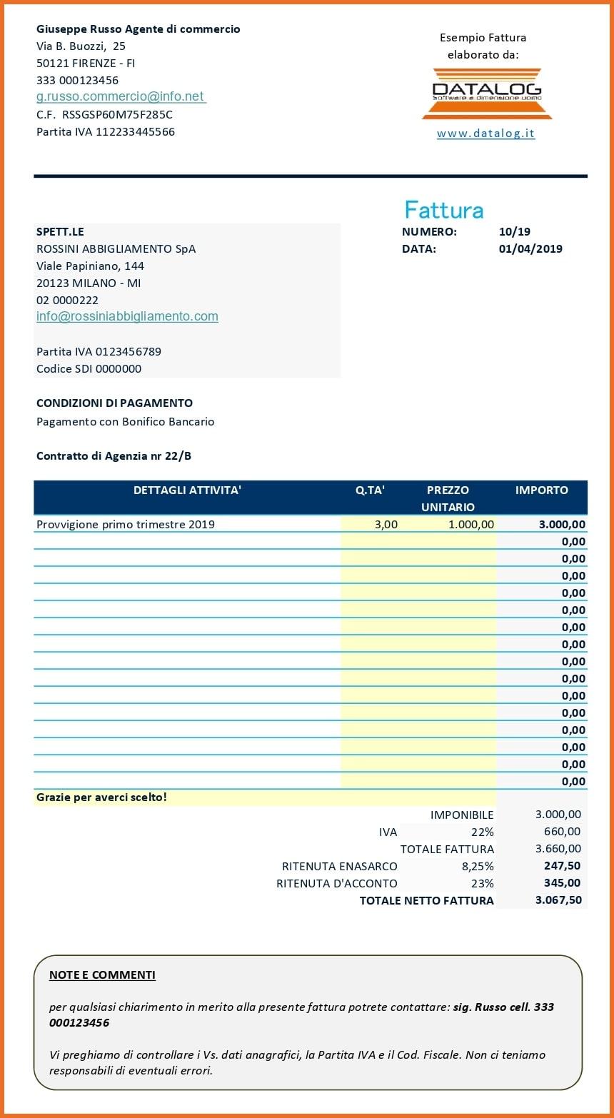 Modello Fattura Excel con contributo ENASARCO per agenti di commercio