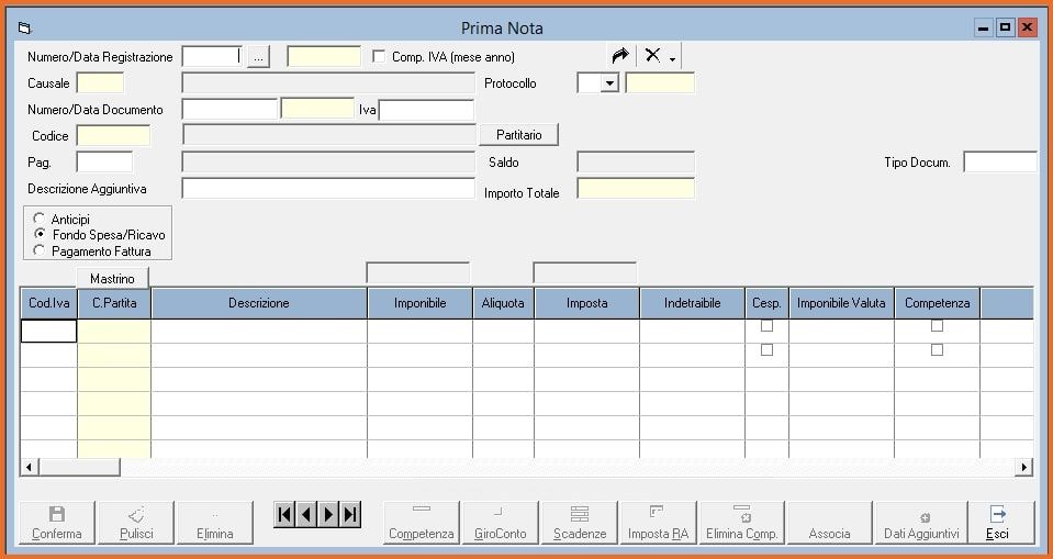 KING Software Gestionale - Gestione Prima Nota
