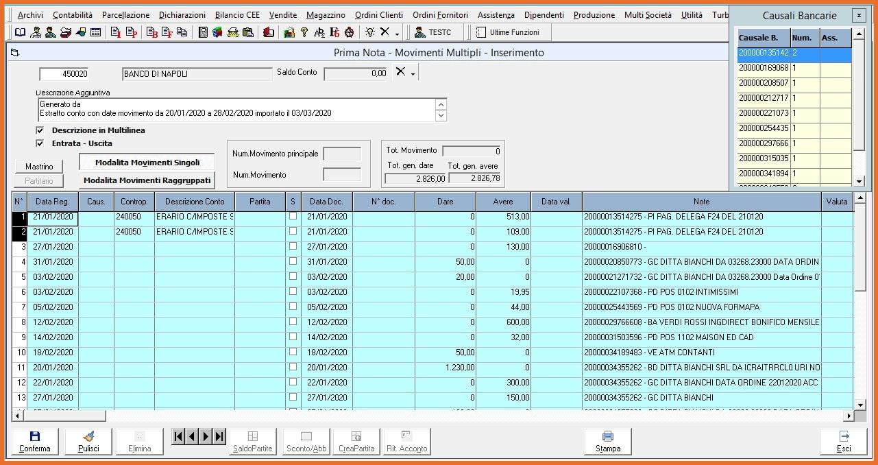 King software Importazione estratti conto bancari in Prima Nota