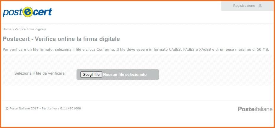 Postecert: Verifica firma digitale per file XML.P7M