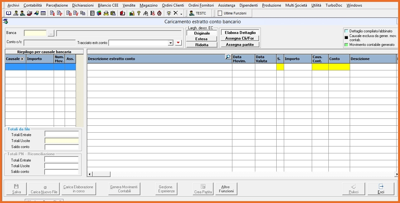 King software Importazione Estratti conto bancari