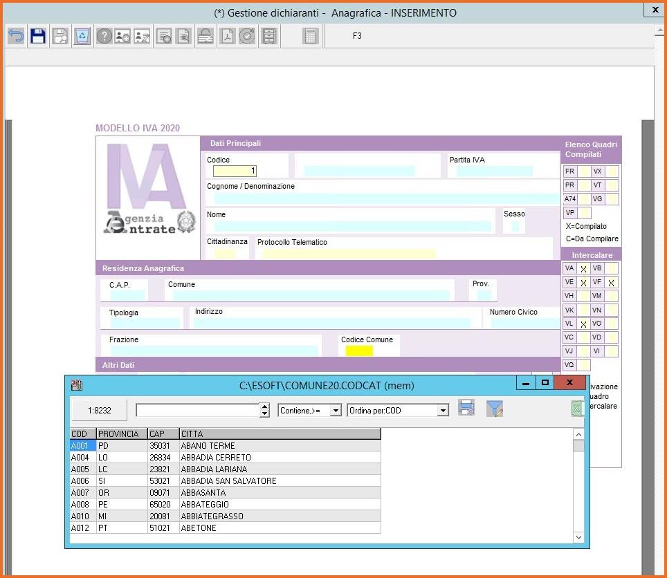 TURBOTAX compilazione direttamente sul modello dichiarativo aggiornato: inserimento veloce dei dati tramite le tabelle