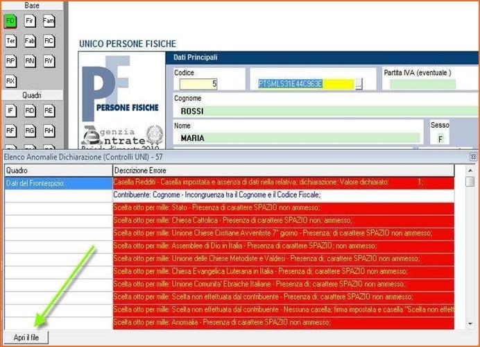 TURBOTAX - Controllo automatico del file prima dell'invio