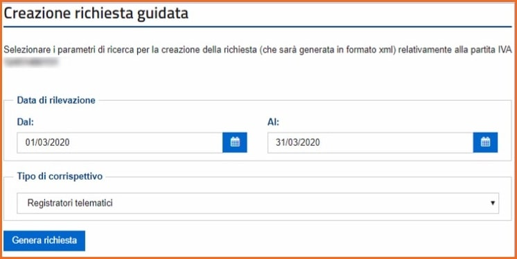 Corrispettivi Elettronici: inserimento richiesta per download massivo file XML. Scelta dell'intervallo di tempo.