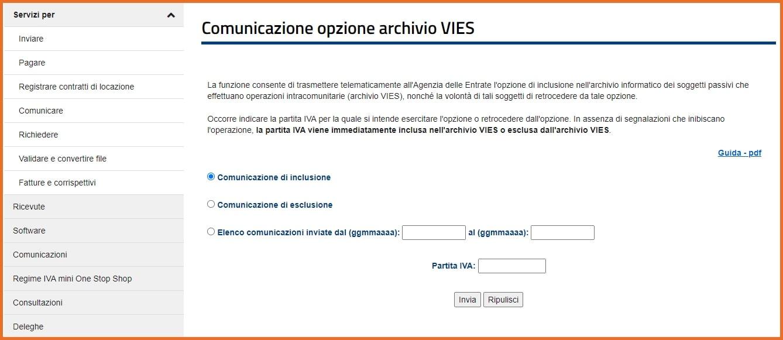 VIES: richiesta inclusione database della partita IVA