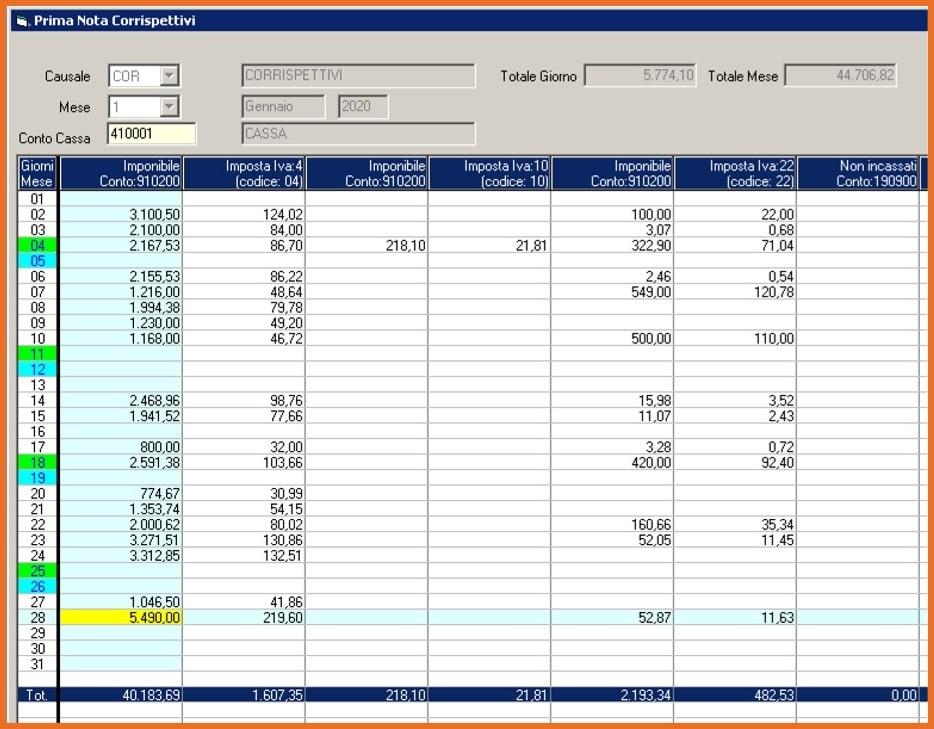Esempio Contabilizzazione Corrispettivi Elettronici importati dal file XML nel software DATALOG GESTIONALE KING STUDIO