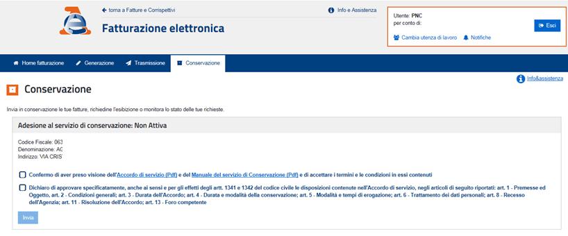 Agenzia Entrate servizio conservazione fatture elettroniche convenzione