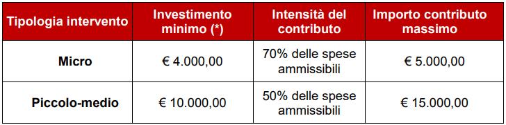 Bando E-commerce Lombardia: ripartizione contributo per tipologia di intervento